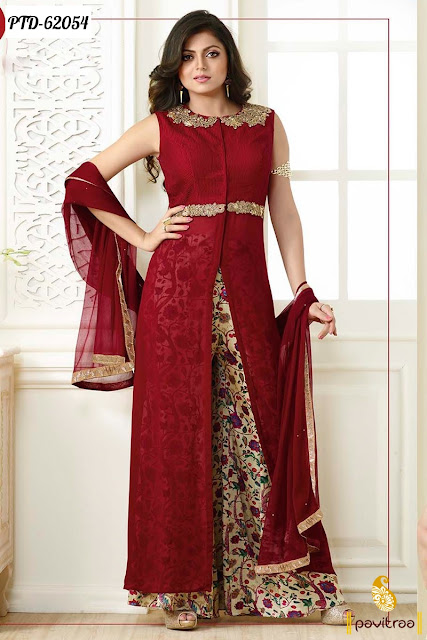 Drashti Dhami Fashion maroon color chiffon designer palazzo salwar kameez and  dresses online shopping collection in India