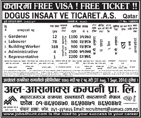 Free Visa, Free Ticket, Jobs For Nepali In Qatar, Salary -Rs.71,075/