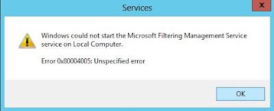 MS Filtering Service Error