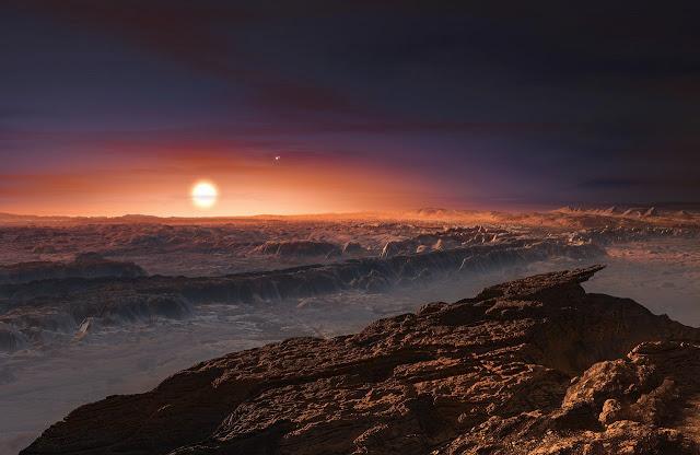Ilustração artística do exoplaneta Proxima b