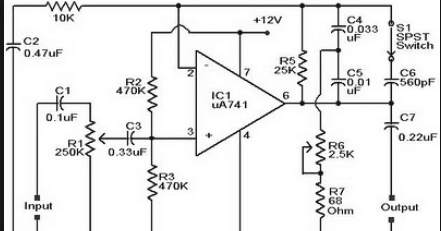 Wiring Schematic Diagram: Guitar Pre-amp Using Op-Amp 741