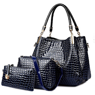 Handbag,Crossbody Bag and Purse, Crocodile Leather Women Handbag Set 3Pcs – £21.23