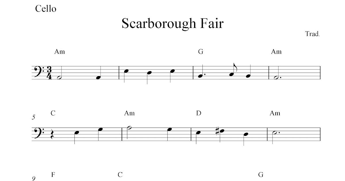 Piano scarborough fair piano sheet music : Scarborough Fair, free cello sheet music notes