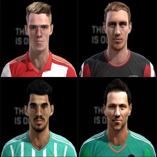 Faces: Ceballos-Real Betis, Diego Alves-Valencia, Rick Karsdorp-Feyenoord, OKane-Bournamouth, Pes 2013