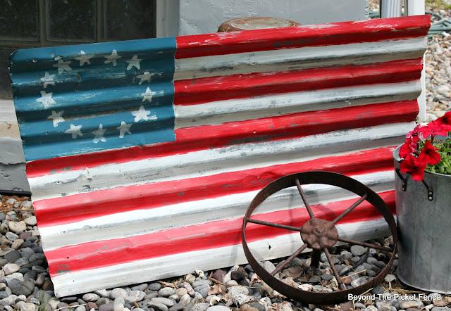 use old corrugated tin to make a flag