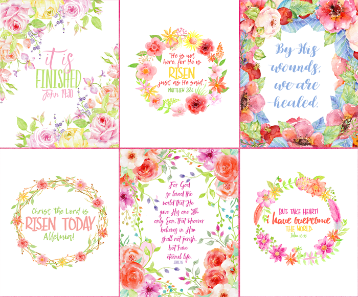 Six Watercolor Flowers Printables