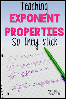 Looking for ideas to teach exponent properties and exponent rules?  These are great ideas so that your 8th grade math and Algebra students understand the rules to simplify exponents.  Read on for my ideas! #makesenseofmath