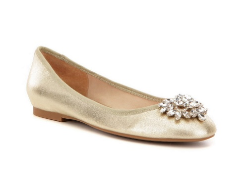Badgley Mischka Bianca Gold Metallic Suede Crystal-Embellished Dress Flats