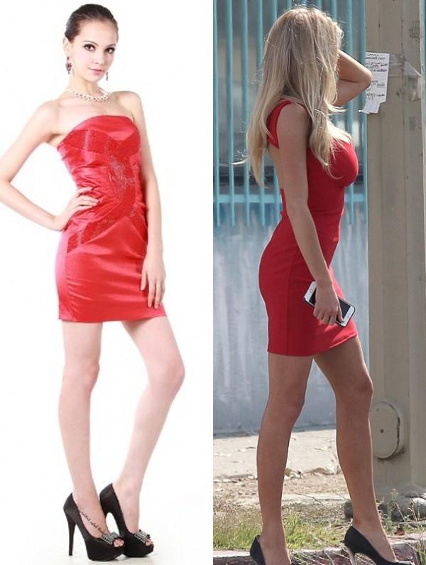 Mini robe rouge cocktail moulante pour l'été