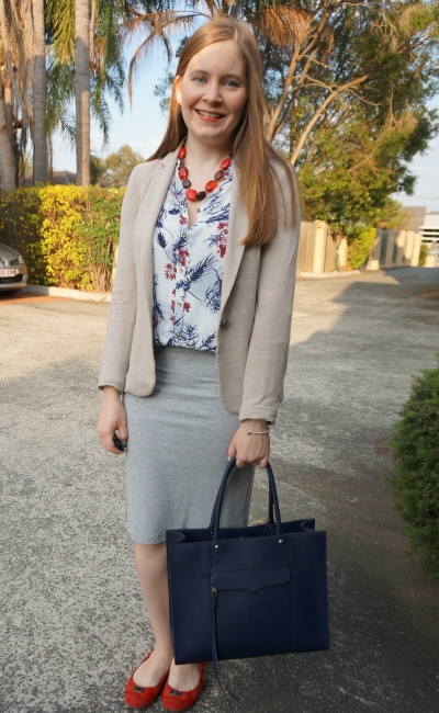 cream blazer, jersey marle pencil skirt and floral button up tank for the office navy tote bag | AwayFromBlue