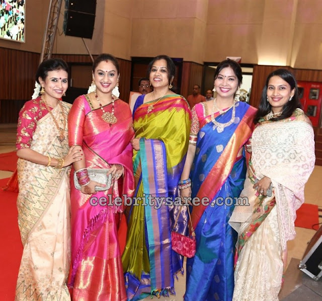 Tamil Celebrities in Silk Sarees