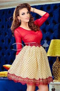 Rochie de ocazie scurta in clos din tul fin si aplicatii brodate de culoare rosie