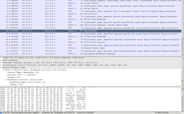 Wireshark shows TLS handshake with client authentication, with the client certificate displayed in plaintext.