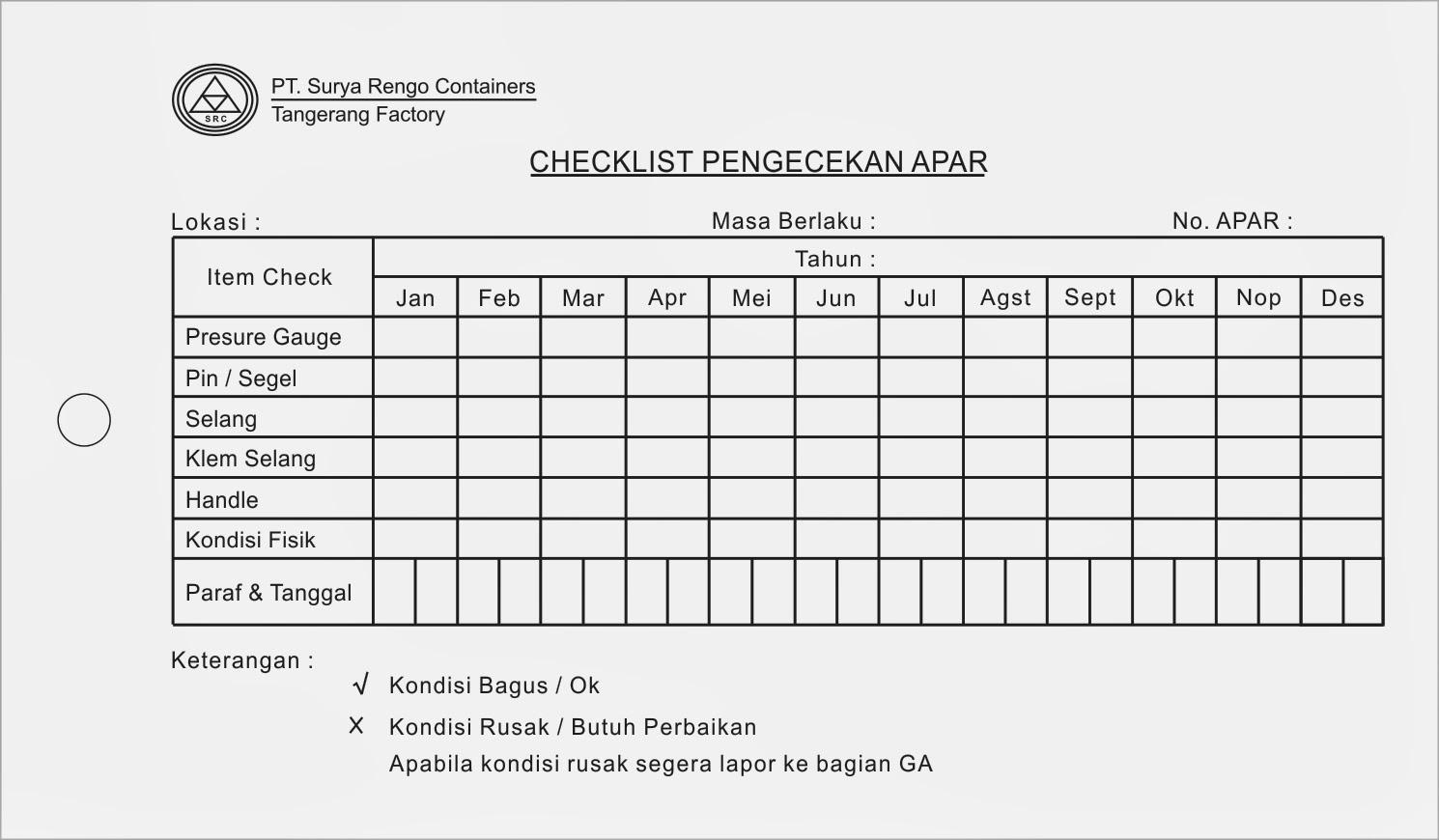 Cetak Form Checklist Apar Images