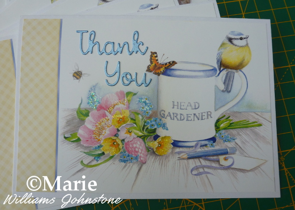 Thank you handmade card design Hunkydory Little Books Bird flowers gardening Spring notecard yellow blue white