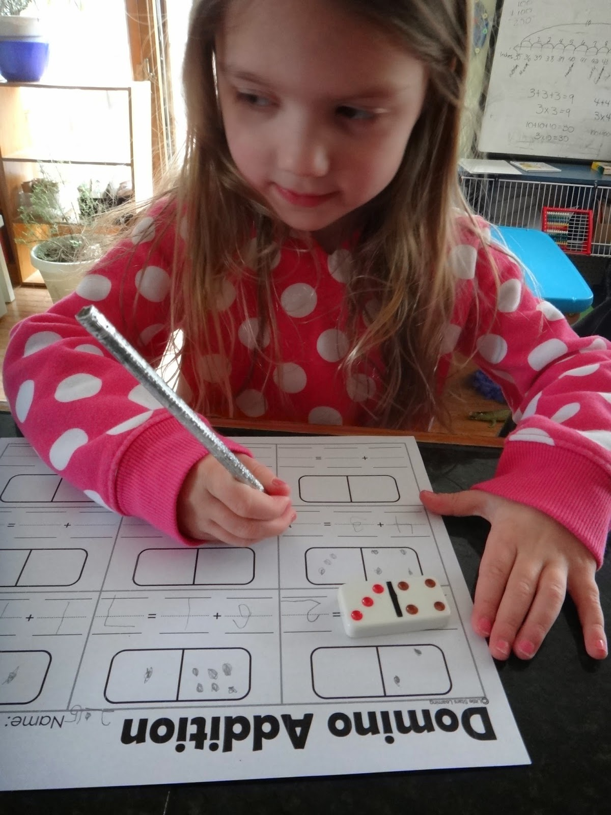 domino addition worksheet preschool early elementary