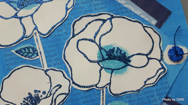 Using Donna Downey's poppies stamps, Distress paint in broken china ...