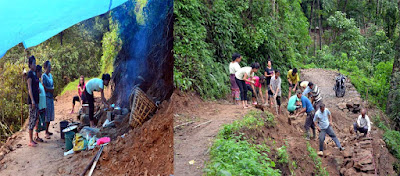 Villagers ploughing road toward Suntaley dhura