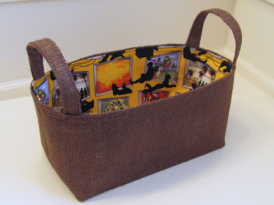 burlap basket for remote controls