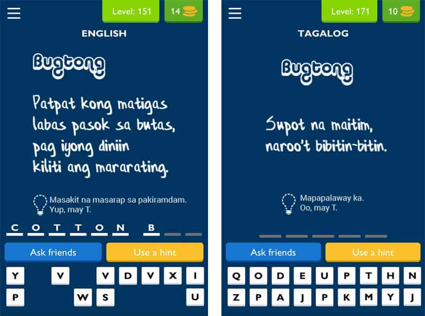 Answers for Level 151 to 180 - uLOL Game App Tagalog Trivia and