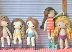 Crochet pattern amigurumi doll girls in swim wear