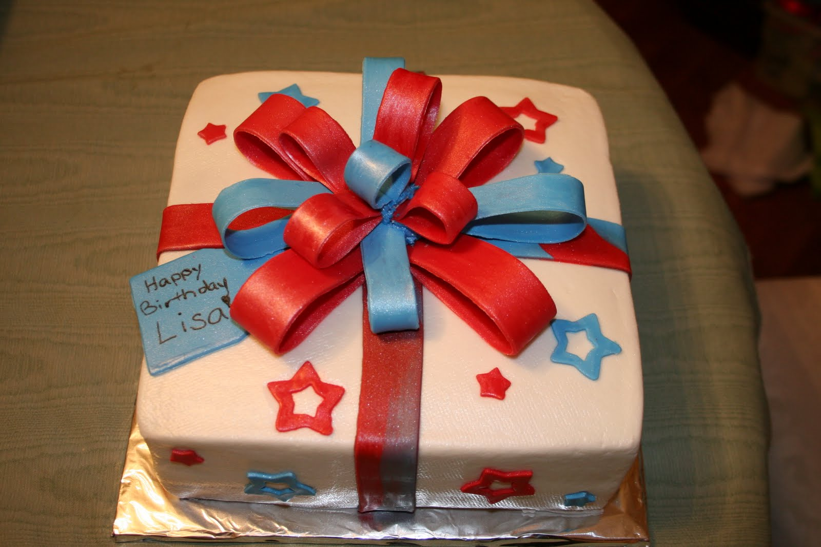 Rachel S Creative Cakes Red White And Blue Present Cake