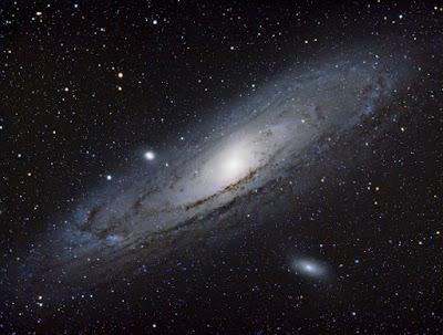 Andromeda galaxy through telescope