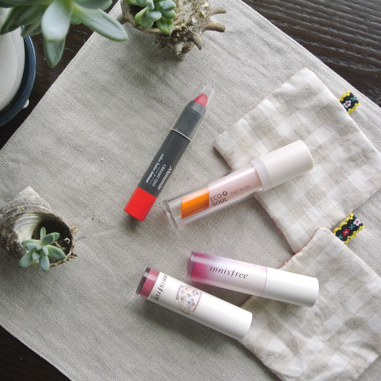 Korean Makeup Lip Products Review: Oil Tint and Lipstick Mix, Innisfree & The Saem & Mamonde