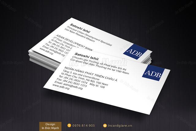 Mẫu card visit Ngân hàng phát triên Châu Á ADB