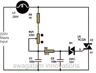 simple triac diac based light dimmer circuit