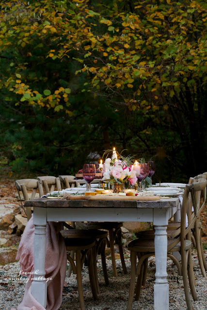 romantic inspired table setting outdoors on patio