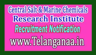 Central Salt & Marine Chemicals Research Institute CSMCRI Recruitment Notification 2017