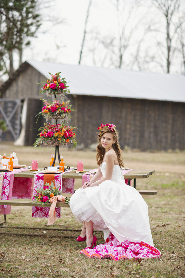 bride+groom+boho+bohemian+chic+orange+pink+yellow+rustic+valentine+valentines+day+february+winter+spring+wedding+cake+bouquet+petticoat+dress+gown+table+setting+floral+arrangement+centerpiece+tangerine+melissa+mccrotty+photography+13 - The Valentine Ombre