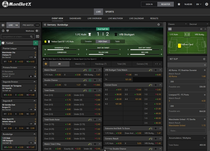 ManBetX Live Betting Screen