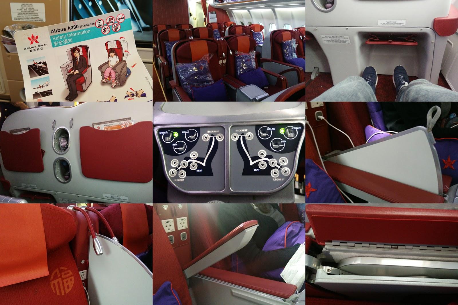 黑老闆說︱回程也是香港航空A330-300,但是座椅不同,較新,但仍不是平躺包廂式,最是兩張座位間有個隔板可以拉上。