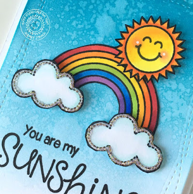 Sunny Studio Stamps: You Are My Sunshine Rainbow Card by Audrey Tokach (using Rain or Shine & Sunny Sentiments)