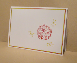 CAS Christmas card, words in a circle with starts around, landscape