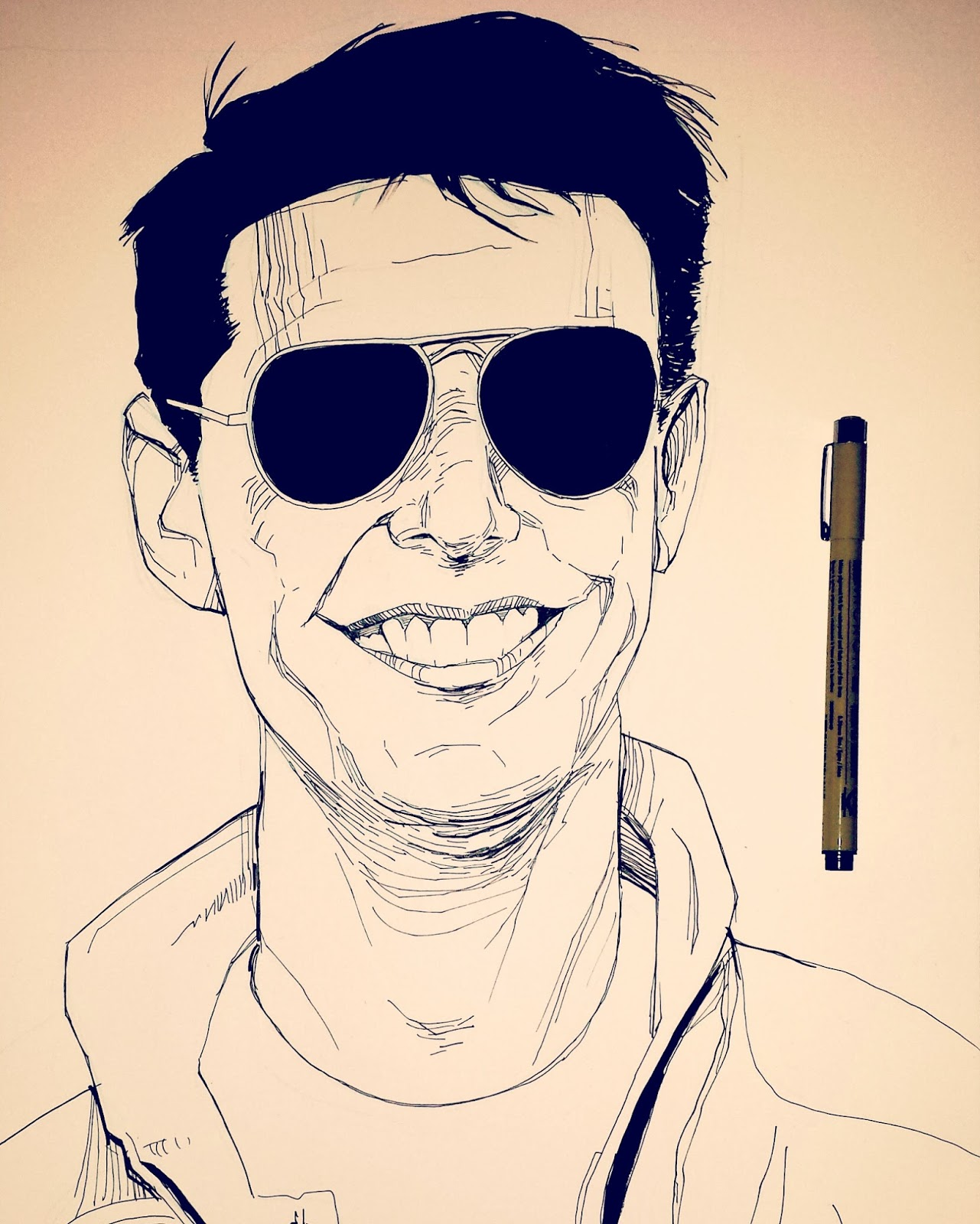 Tom Cruise smiling drawing Top Gun