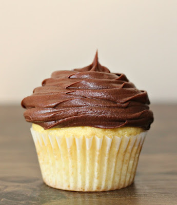 vanilla cupcake topped with fudge frosting swirl
