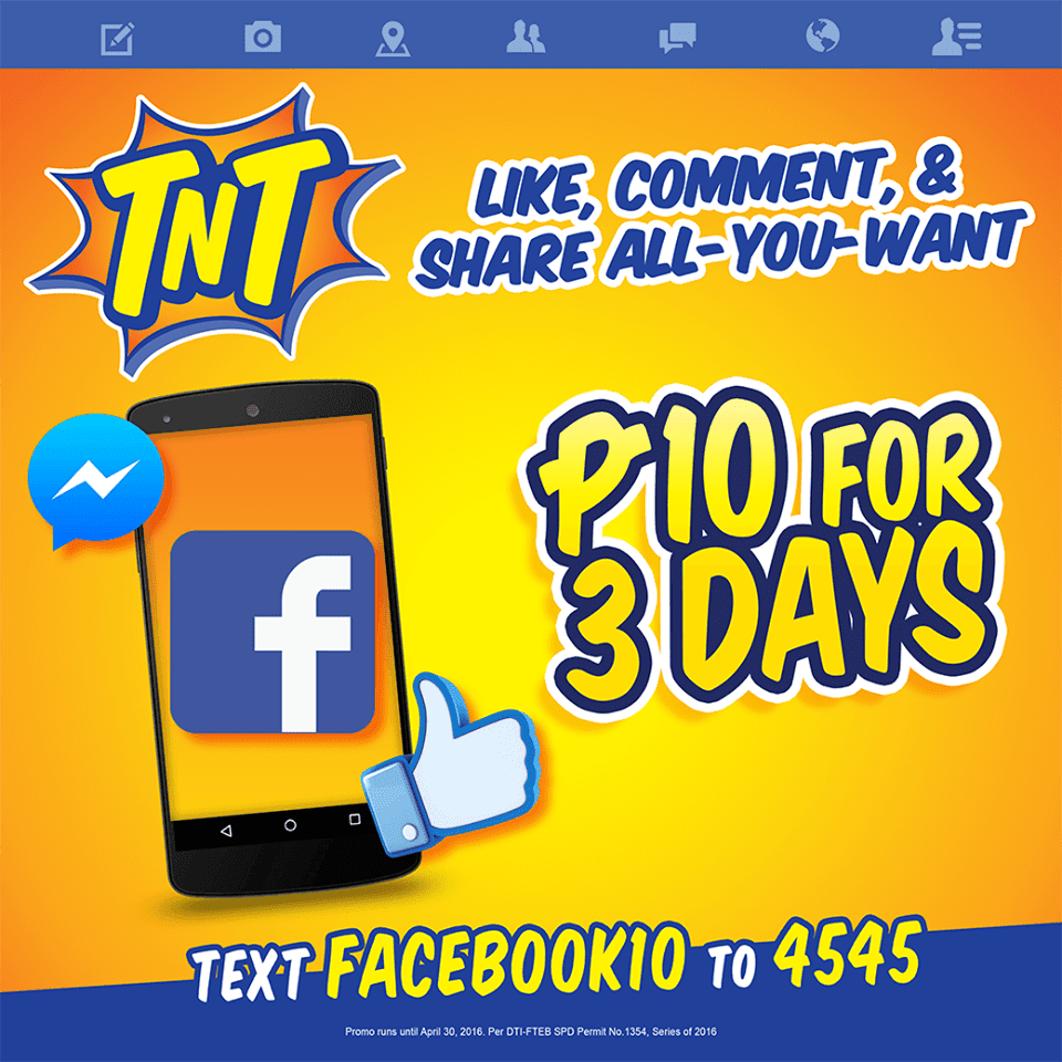 013430470d TNT Unli Facebook (FB) Promo for 3 days only 10 Pesos - HowToQuick.Net