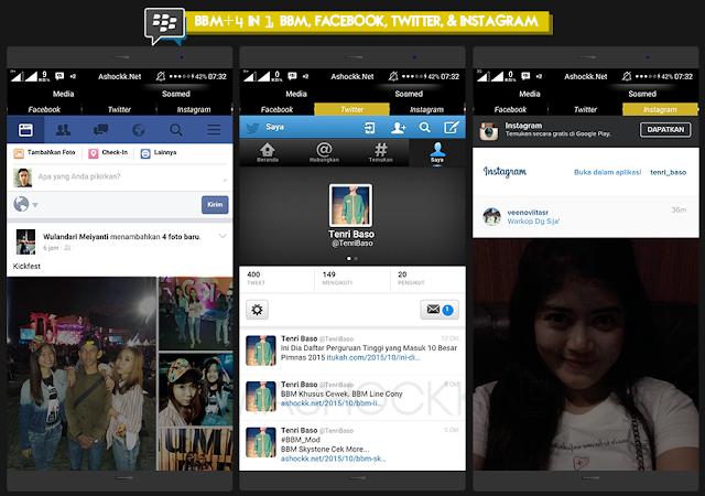 BBM 4 in 1 Facebook, BBM, Twitter dan Instagram