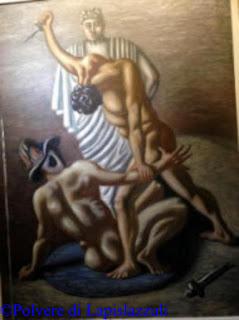 Opera dipinta in cui sono raffigurati due gladiatori mentre combattoni, opera di De Chirico