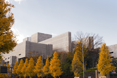 Supreme Court of Japan lined with gingko trees in autumn.
