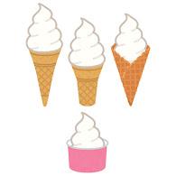 いろいろなアイスのコーンのイラストソフトクリーム かわいい