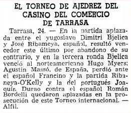 I Torneo Internacional de Terrassa 1960, La Vanguardia del 25 de junio