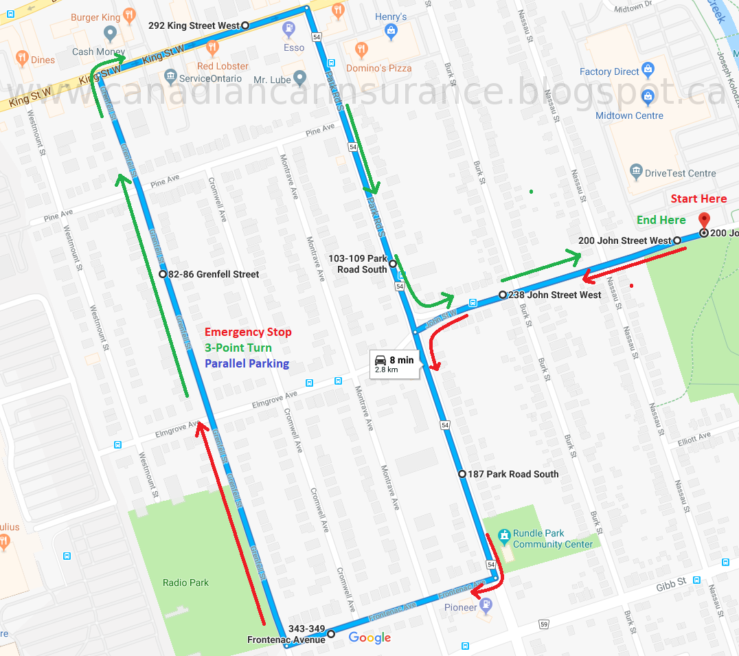 Oshawa G2 Road Test Route Map