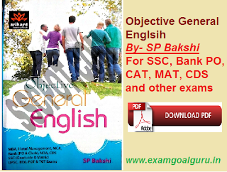 objective general english by SP Bakshi for SSC-CGL, CDS, CAT, MAT, NDA exams