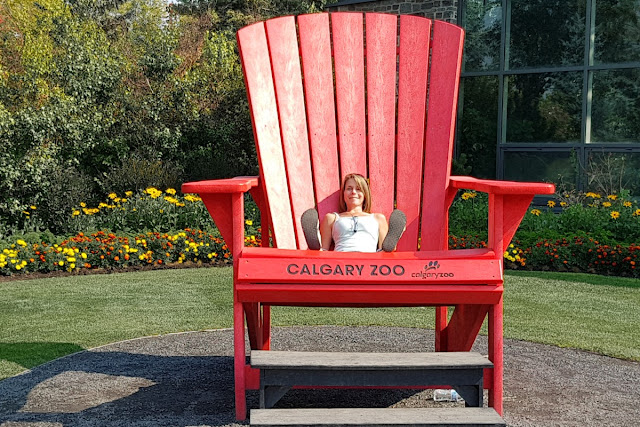 My wife takes a rest at the Calgary Zoo...