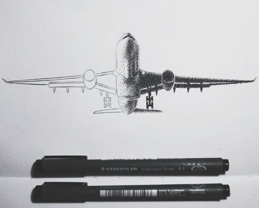 14-Air-Plane-Eric-Wang-Stippling-Drawings-www-designstack-co