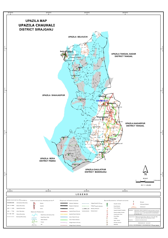Chauhali Upazila Map Sirajganj District Bangladesh